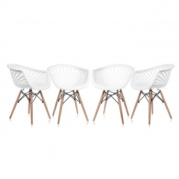 Makika Design Retro Dining Chair Set of 4 - SARA in White – Bild 2