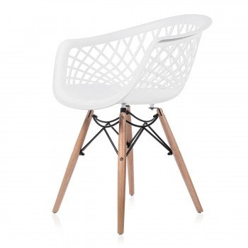 Makika Design Retro Dining Chair Set of 4 - SARA in White – Bild 4