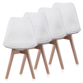 Makika Design Retro Dining Chair Set of 4 - ZURA CREAM – Bild 1
