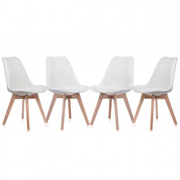 Makika Design Retro Dining Chair Set of 4 - ZURA CREAM – Bild 2