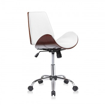 MY SIT Office Swivel Stool with backrest - Constance in White/Brown – Bild 1