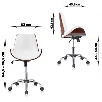 MY SIT Office Swivel Stool with backrest - Constance in White/Brown – Bild 7
