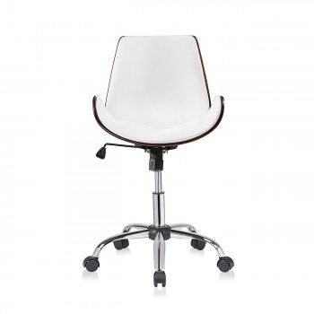 MY SIT Office Swivel Stool with backrest - Constance in White/Brown – Bild 2