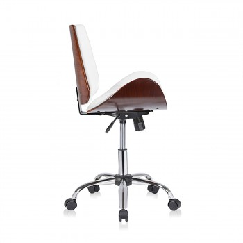 MY SIT Office Swivel Stool with backrest - Constance in White/Brown – Bild 6