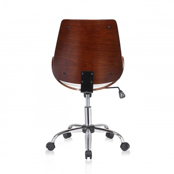 MY SIT Office Swivel Stool with backrest - Constance in White/Brown – Bild 4