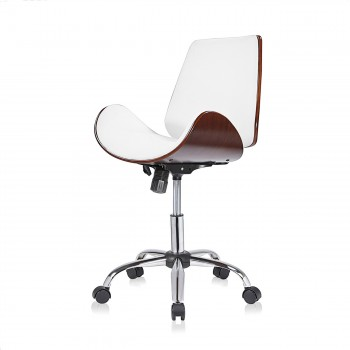 MY SIT Office Swivel Stool with backrest - Constance in White/Brown – Bild 3