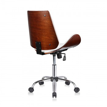 MY SIT Office Swivel Stool with backrest - Constance in White/Brown – Bild 5