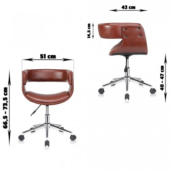 MY SIT Office Swivel Stool with backrest - Francis in Brown – Bild 7