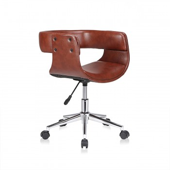 MY SIT Office Swivel Stool with backrest - Francis in Brown – Bild 1
