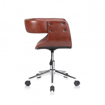 MY SIT Office Swivel Stool with backrest - Francis in Brown – Bild 6