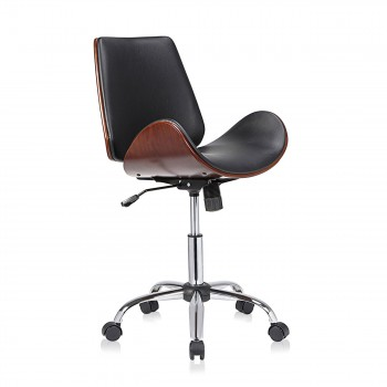 MY SIT Office Swivel Stool with backrest - Constance in Black/Brown – Bild 1