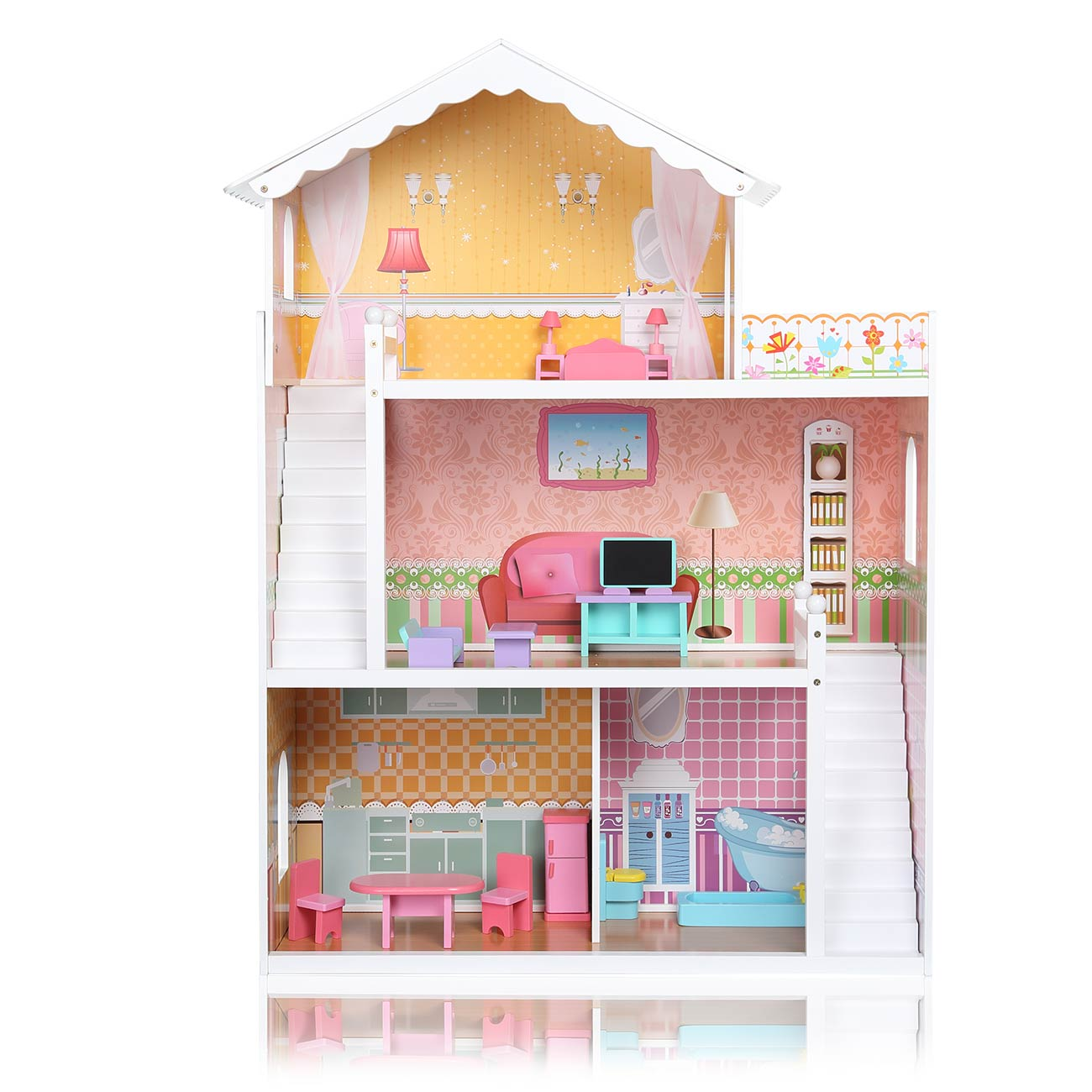 Wooden Kids Doll House Miniature Furniture Kit Barbie Doll