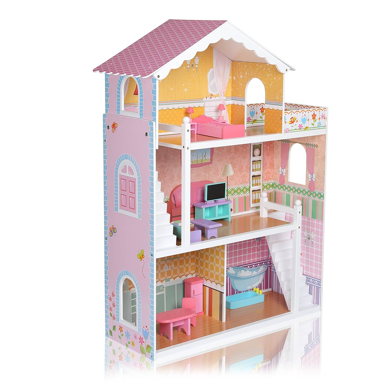 Wooden Kids Doll House Miniature Furniture Kit Barbie Doll Large Dollhouse Set Ebay