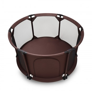BABY VIVO Baby Child Playpen Flexi Portable / Foldable in Brown – Bild 1