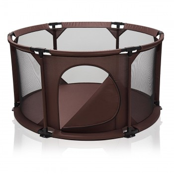 BABY VIVO Baby Child Playpen Flexi Portable / Foldable in Brown – Bild 3
