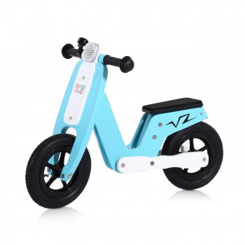 Baby Vivo 10 inch balance bike / trainer bike made of wood with bike bell - Capri blue – Bild 1