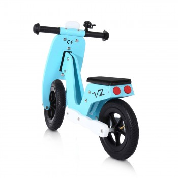 Baby Vivo 10 inch balance bike / trainer bike made of wood with bike bell - Capri blue – Bild 3