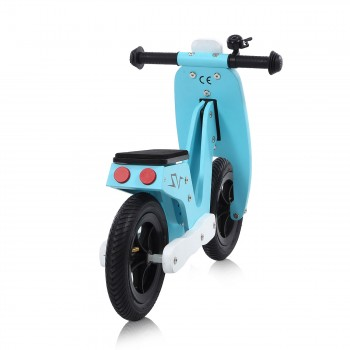 Baby Vivo 10 inch balance bike / trainer bike made of wood with bike bell - Capri blue – Bild 4