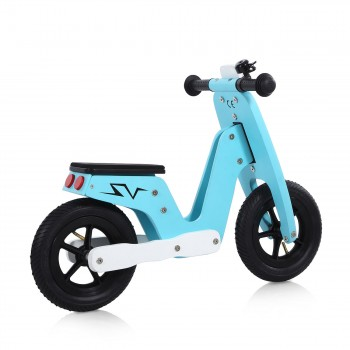 Baby Vivo 10 inch balance bike / trainer bike made of wood with bike bell - Capri blue – Bild 5