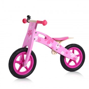 Baby Vivo 12 inch balance bike / trainer bike made of wood with bike bell - Pinky – Bild 1