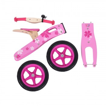 Baby Vivo 12 inch balance bike / trainer bike made of wood with bike bell - Pinky – Bild 12