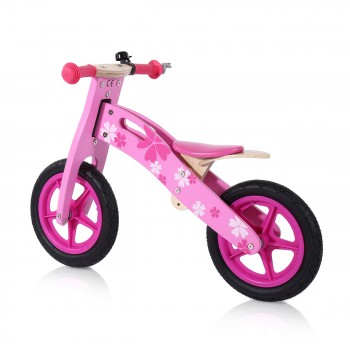 Baby Vivo 12 inch balance bike / trainer bike made of wood with bike bell - Pinky – Bild 2