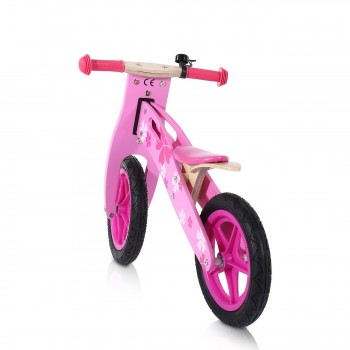 Baby Vivo 12 inch balance bike / trainer bike made of wood with bike bell - Pinky – Bild 3