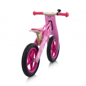 Baby Vivo 12 inch balance bike / trainer bike made of wood with bike bell - Pinky – Bild 4