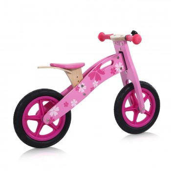 Baby Vivo 12 inch balance bike / trainer bike made of wood with bike bell - Pinky – Bild 5
