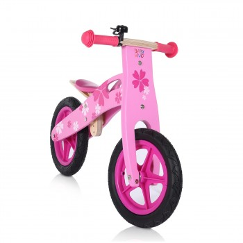 Baby Vivo 12 inch balance bike / trainer bike made of wood with bike bell - Pinky – Bild 6