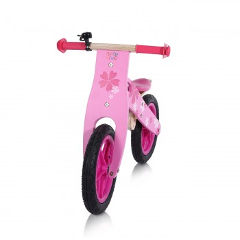 Baby Vivo 12 inch balance bike / trainer bike made of wood with bike bell - Pinky – Bild 7
