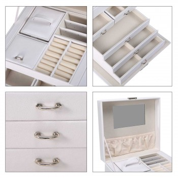 Makika Jewellery Box / Jewellery Storage with Lock and 2 Side Cases Faux Leather - in White – Bild 12