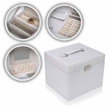Makika Jewellery Box / Jewellery Storage with Lock and 2 Side Cases Faux Leather - in White – Bild 1