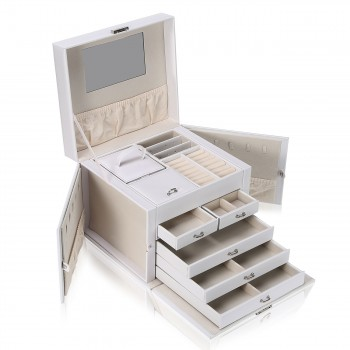 Makika Jewellery Box / Jewellery Storage with Lock and 2 Side Cases Faux Leather - in White – Bild 3