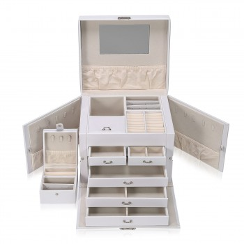 Makika Jewellery Box / Jewellery Storage with Lock and 2 Side Cases Faux Leather - in White – Bild 7