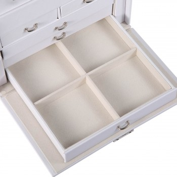 Makika Jewellery Box / Jewellery Storage with Lock and 2 Side Cases Faux Leather - in White – Bild 10