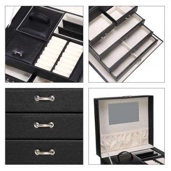 Makika Jewellery Box / Jewellery Storage with Lock and 2 Side Cases Faux Leather - in Black – Bild 12