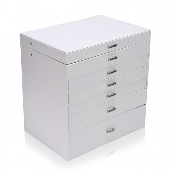 Makika Square Jewellery Box / Jewellery Storage with 5 Drawers and Mirror Faux Leather - in White – Bild 2