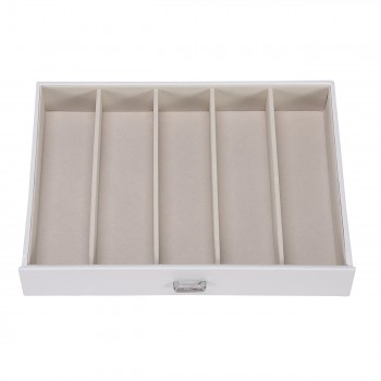 Makika Square Jewellery Box / Jewellery Storage with 5 Drawers and Mirror Faux Leather - in White – Bild 9