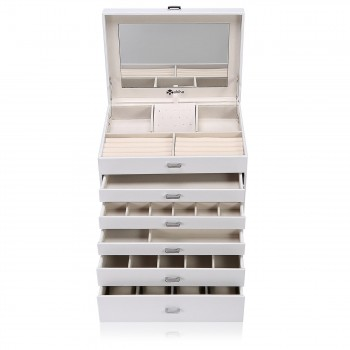Makika Square Jewellery Box / Jewellery Storage with 5 Drawers and Mirror Faux Leather - in White – Bild 6