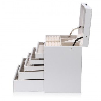 Makika Square Jewellery Box / Jewellery Storage with 5 Drawers and Mirror Faux Leather - in White – Bild 7