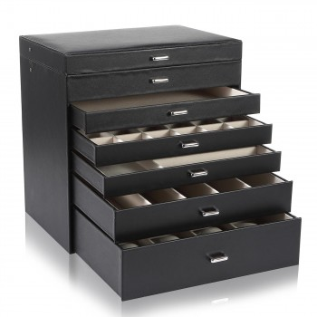Makika Square Jewellery Box / Jewellery Storage with 5 Drawers and Mirror Faux Leather - in Black – Bild 5