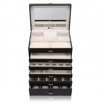 Makika Square Jewellery Box / Jewellery Storage with 5 Drawers and Mirror Faux Leather - in Black – Bild 6
