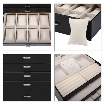 Makika Square Jewellery Box / Jewellery Storage with 5 Drawers and Mirror Faux Leather - in Black – Bild 11