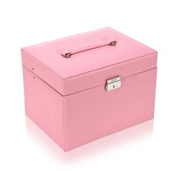 Makika Square Jewelry Box / Jewelry Storage with 3 Drawers and separate Travel Box - in Pink – Bild 2