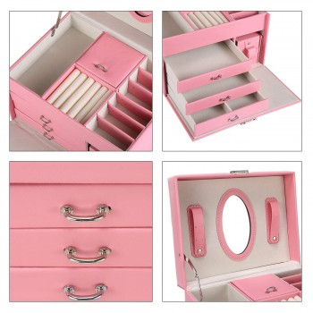 Makika Square Jewelry Box / Jewelry Storage with 3 Drawers and separate Travel Box - in Pink – Bild 12