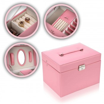 Makika Square Jewelry Box / Jewelry Storage with 3 Drawers and separate Travel Box - in Pink – Bild 1