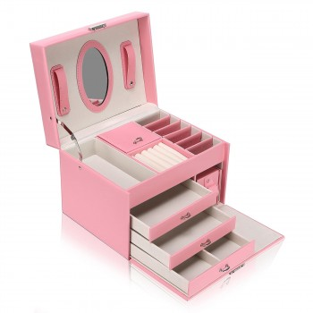 Makika Square Jewelry Box / Jewelry Storage with 3 Drawers and separate Travel Box - in Pink – Bild 4