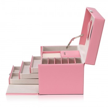 Makika Square Jewelry Box / Jewelry Storage with 3 Drawers and separate Travel Box - in Pink – Bild 5