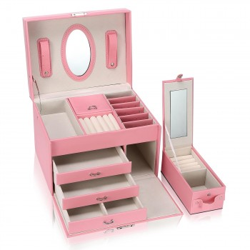 Makika Square Jewelry Box / Jewelry Storage with 3 Drawers and separate Travel Box - in Pink – Bild 8